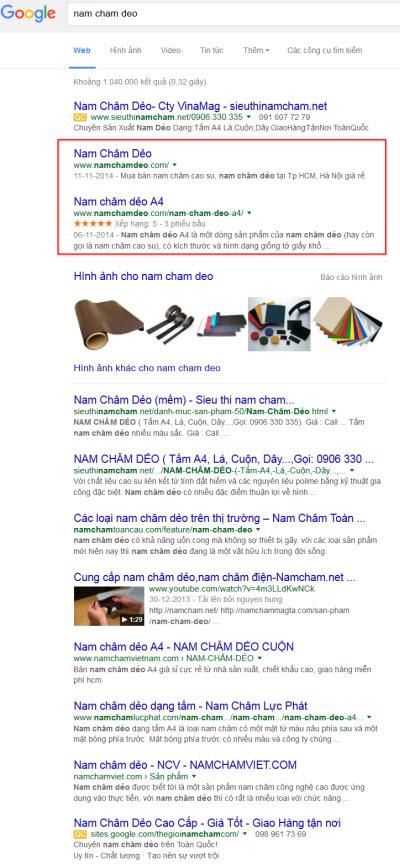 Kết quả tìm kiếm từ khóa nam cham deo từ Google